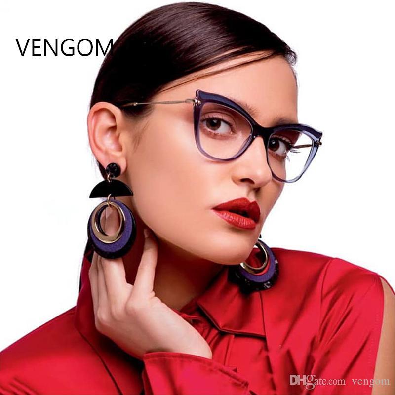 2018 New 2018 Fashion Women Cat\'S Eye Glasses Frame Brand Designer ...