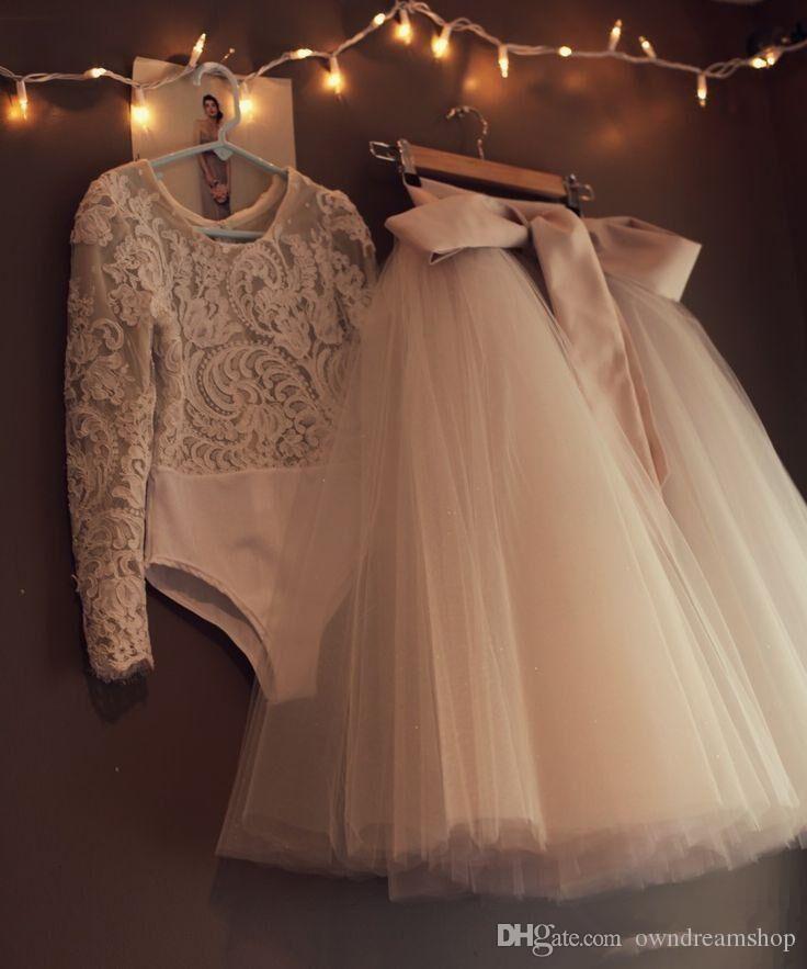 A buon mercato maniche lunghe ragazze fiore di pizzo abiti Due pezzi Tulle Lovely Little Kids Gonne Tea Princess Princess Comunione Abiti di compleanno