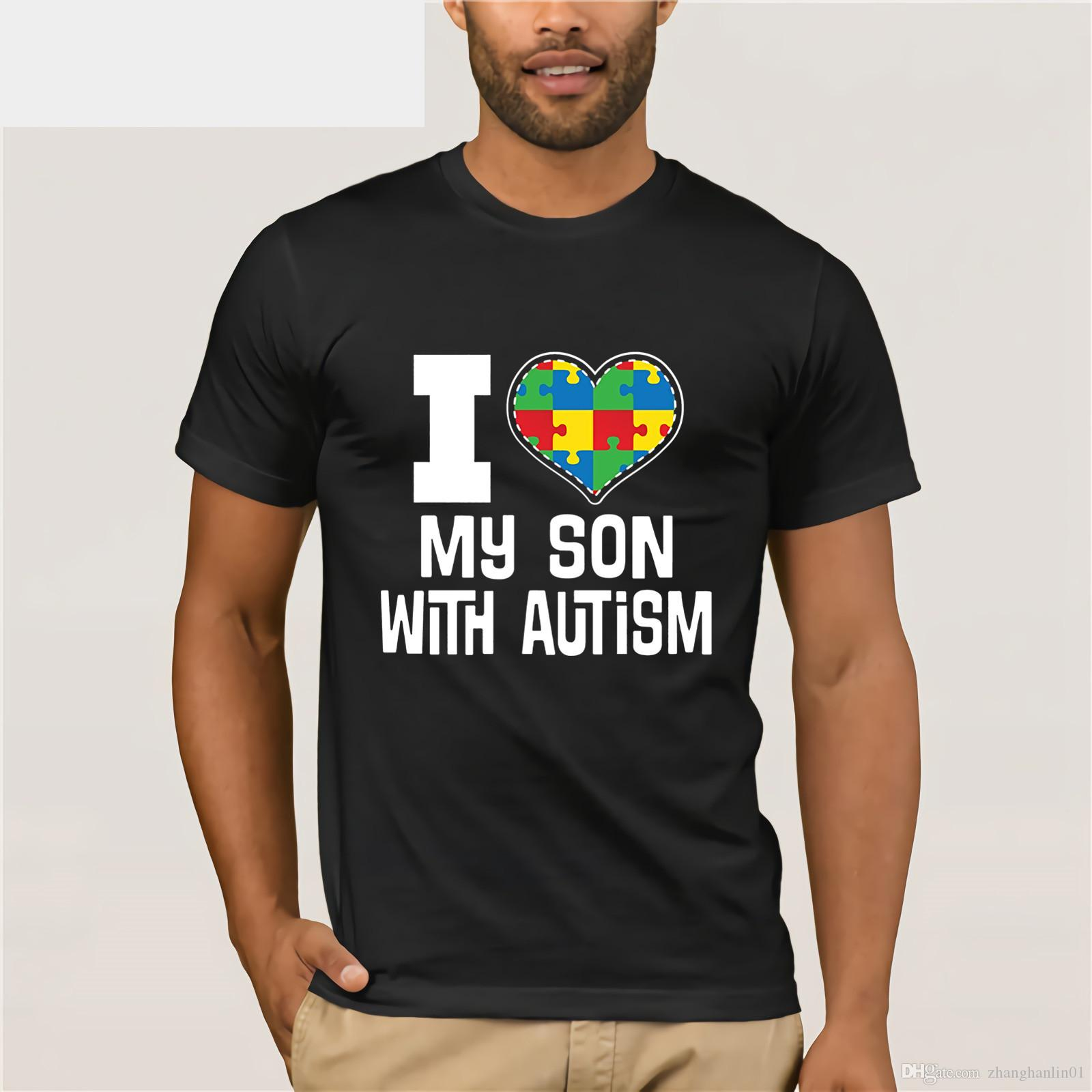 Autistic Spectrum T Shirt I Love My Son With Autism Tee Summer Mens