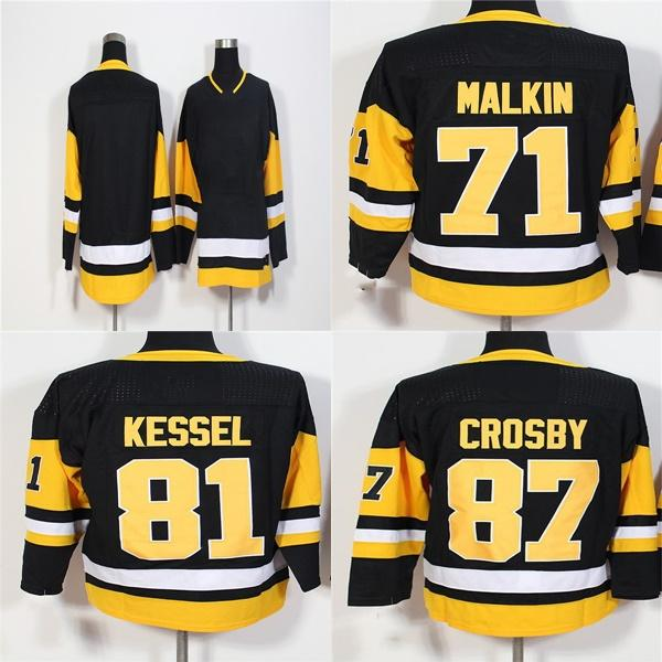 on sale 8fc23 e1965 Cheap 2018 New Brand Mens Pittsburgh 71 Evgeni Malkin 81 Phil Kessel 87  Sidney Crosby Blank Black Full Stitched Logos Ice Hockey Jerseys
