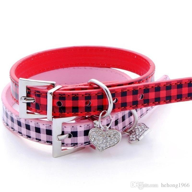 Square Grid Cat Collar PU Rhinestone Crystal Love Heart Peach Pendant Dog Collars Pure Color Pet Supplies 5 8en4 bb