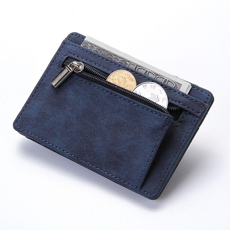 CUIKCA Magic Wallet Magic Money Clip Zipper Coins Wallet Purse Nubuck Leather Fashion Men Women Creative Wallet Card Cases 600