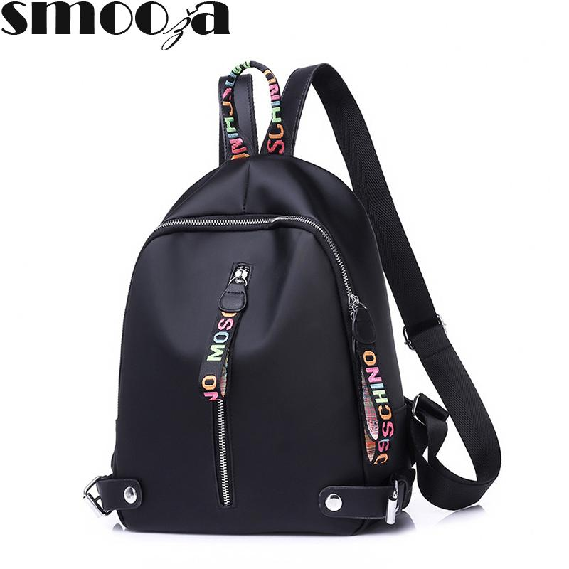 Cheap Sale Smooza 2018 Fashion Backpack School Bags For Teenagers Girls Solid Large Capacity Lady Canvas Zipper Backpack Travel Rucksack Backpacks Luggage & Bags