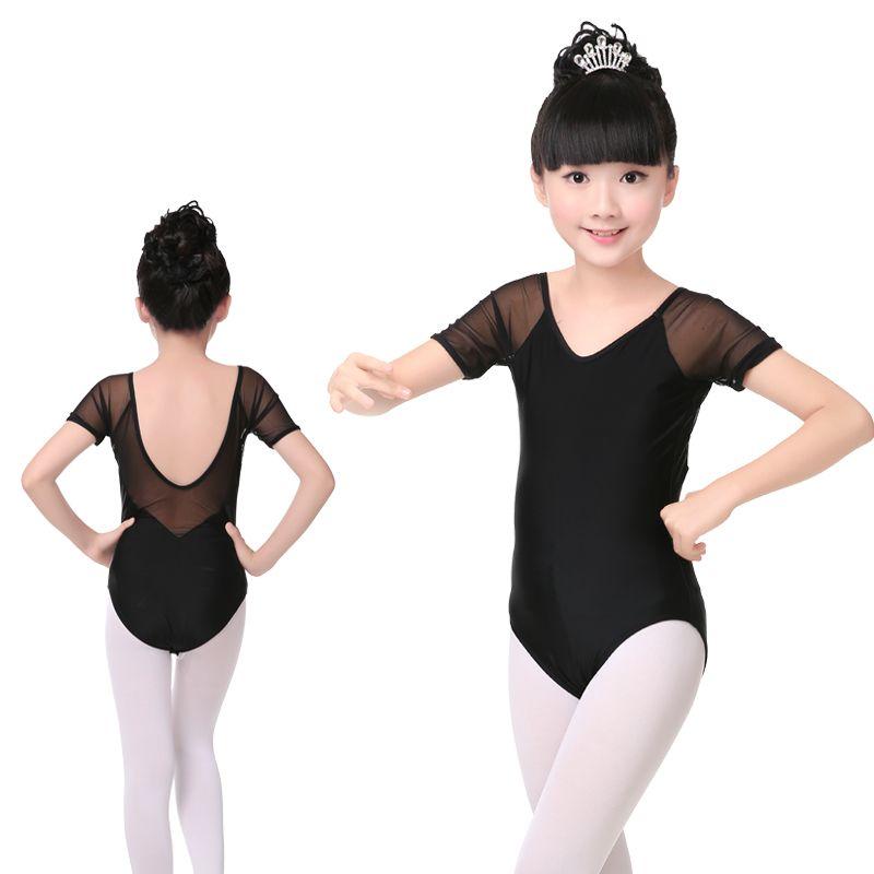 1fb338b38d84 2019 New Spandex Black Ballet Dance Leotard Girls Kids Children Mesh ...