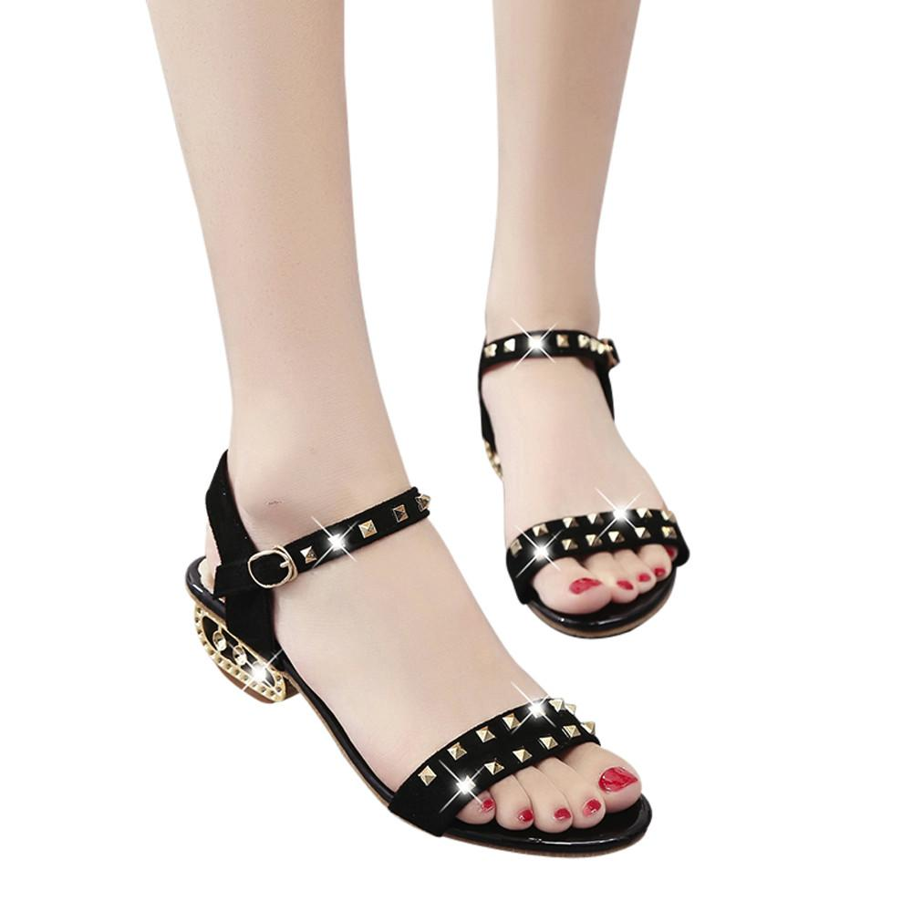 70978eb570184f Women S Casual Sandals 2018 Hot Sale Luxry Female Pretty Rivet Decoration  Med Heeled Shoes Women Girls Sandals Zapatos Mujer A6 Ladies Footwear  Fashion ...