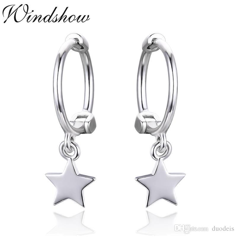Cute 925 Sterling Silver Tiny Star Charms Circles Small Loops Huggie ... 7e47e2f90813