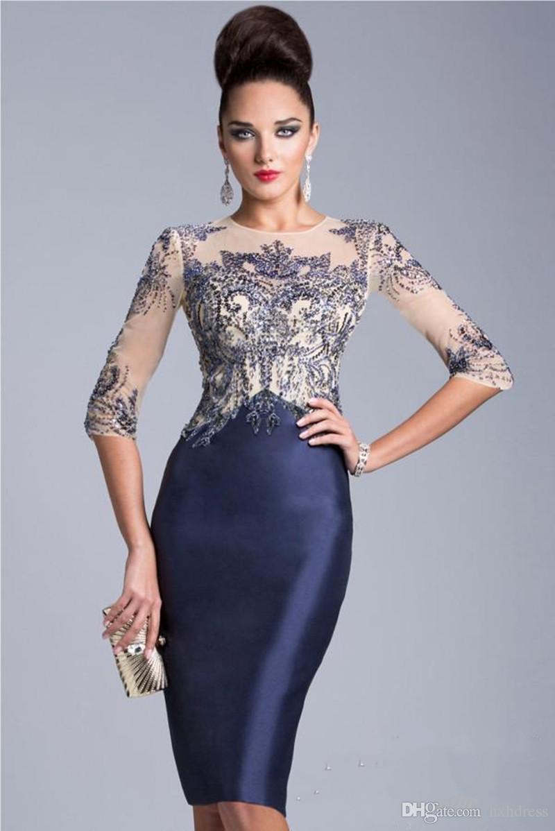 2019 Новое платье для матери невесты Темно-синий Половина рукава Прозрачное хрустальное бисерное платье до колен Вечернее платье для матери vestidos de novia
