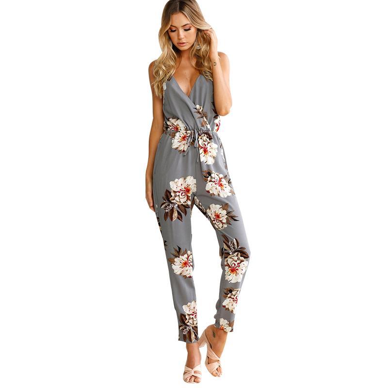 43e2a7182167 2019 Women Jumpsuit Floral Print Spaghetti Strap Deep V Neck Sleeveless  Backless Overalls For Women Bandage Beach Holidaywear Romper From  Liasheng02
