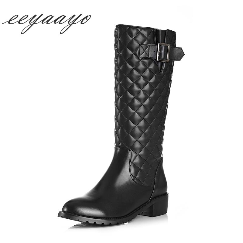 Genuine Leather Winter Women Mid-calf Boots Middle Heel Round Toe ... 579f251d3