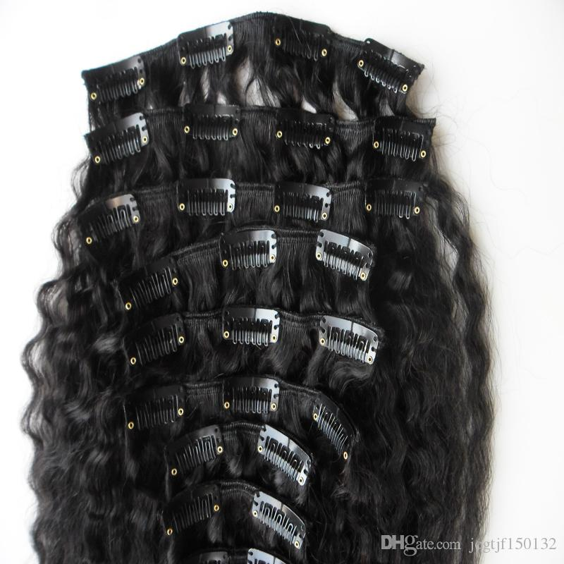 Cheap kinky straight clip in extensions And 120gcoarse yaki clip in Unprocessed virgin clip in hair