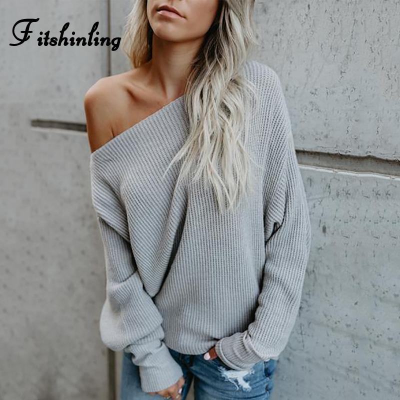 8755c6dc55 2019 Fitshinling One Shoulder Sweater Ladies 2018 Autumn Winter Sexy Grey  Sweaters Women Pullovers Knitwear Fashion Korean Jumpers C18110601 From  Linmei0005 ...