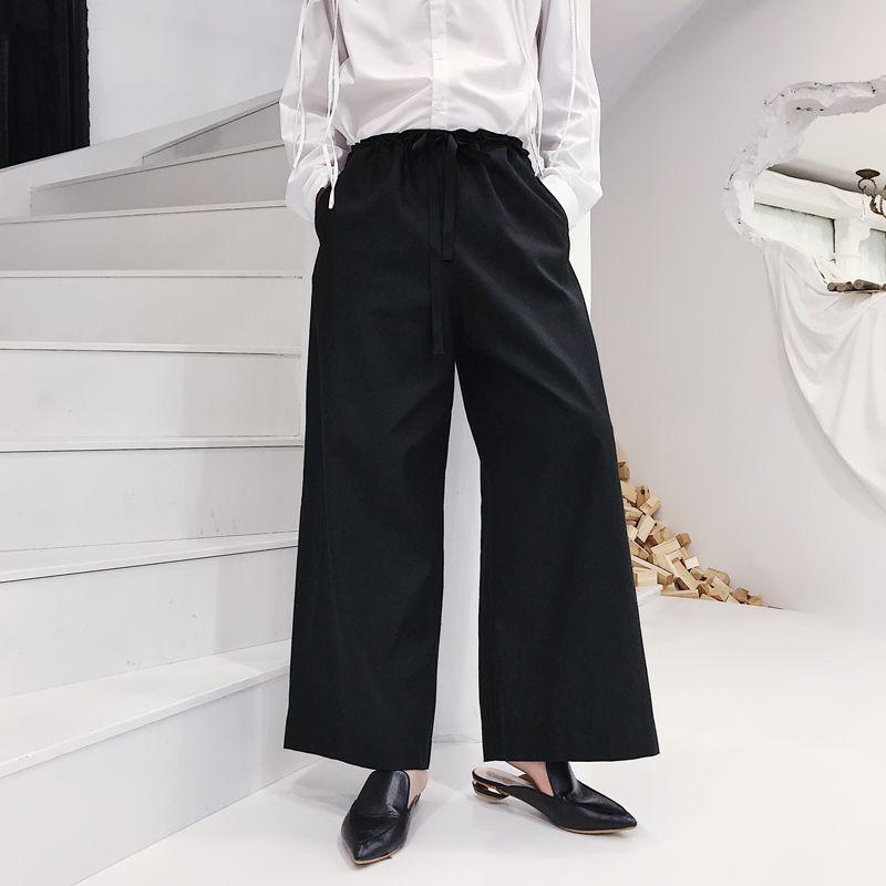 2019 Men Japan Harajuku Cotton Linen Wide Leg Pants Male Fashion
