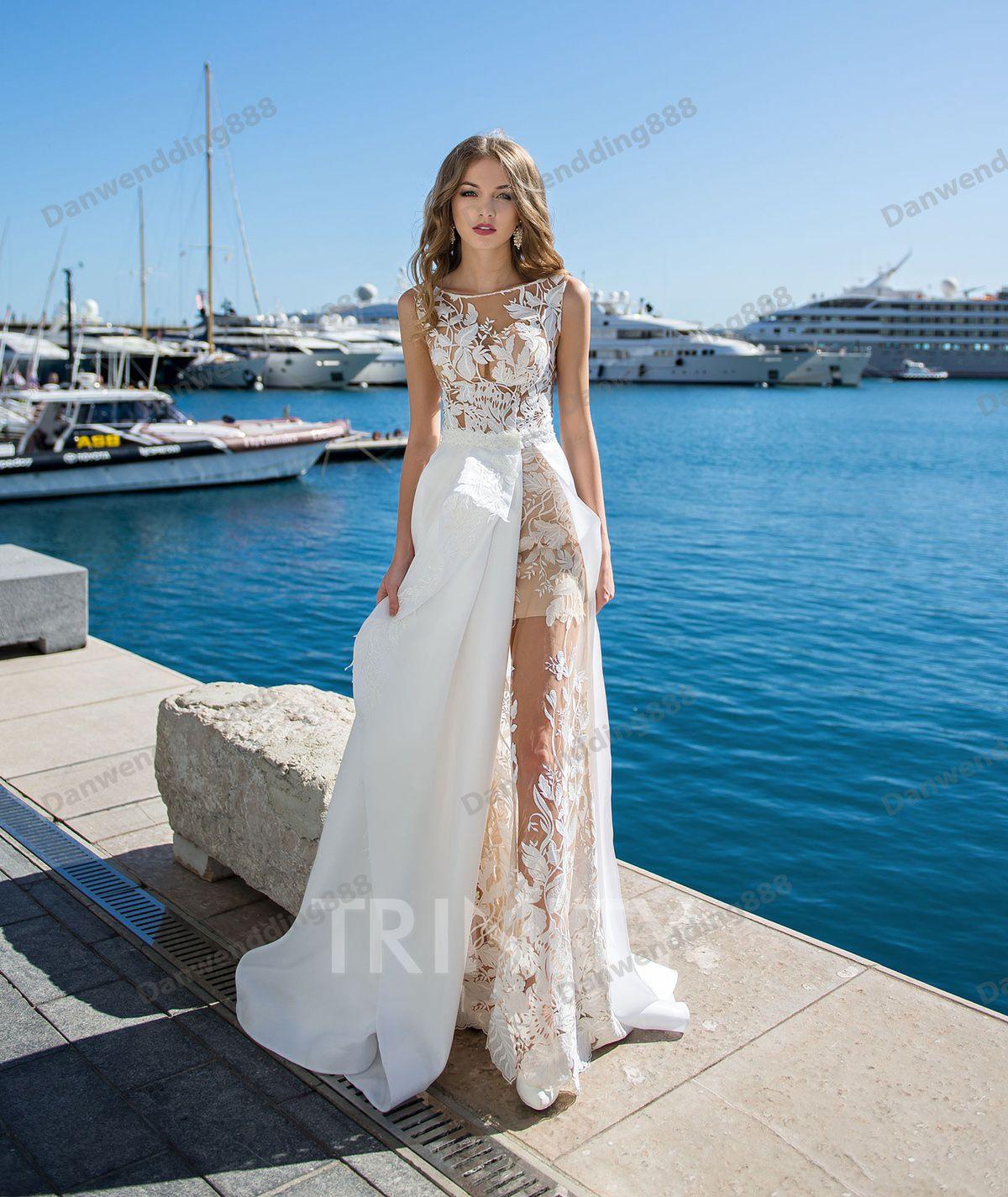 Beauty White Champagne Lace Organza Applique Sheath Wedding Dresses Bridal  Pageant Dresses Wedding Attire Dresses Custom Size 2 16 ZW713274 Dresses  Designer ... 898ac564513a