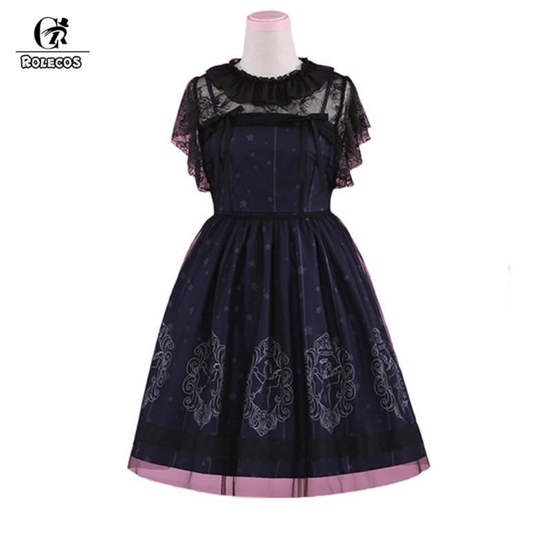 60de69c45a ROLECOS Vintage Starry Night Angel Printing Dress Sets For Women Classical  Sleeveless Strap Dress And Smock Lolita Sets Baby Costumes Infant Halloween  ...