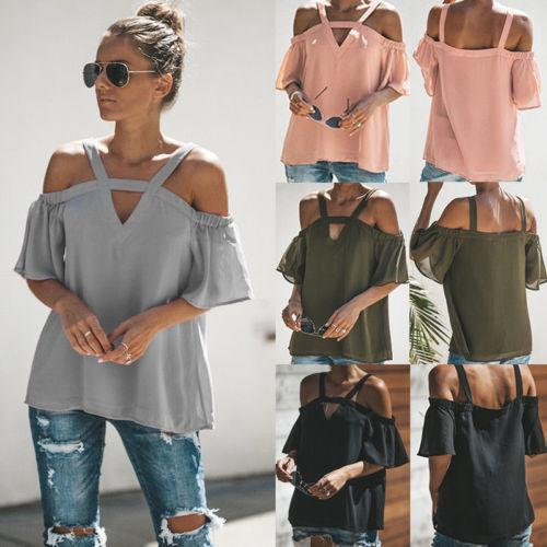 df6359ffc6f34 2019 Summer Sexy Women Off Shoulder Chiffon Shirts Short Sleeve Blouses  Lady Fashion Casual Loose Pullover Tops Blouse Shirt From Jamie22