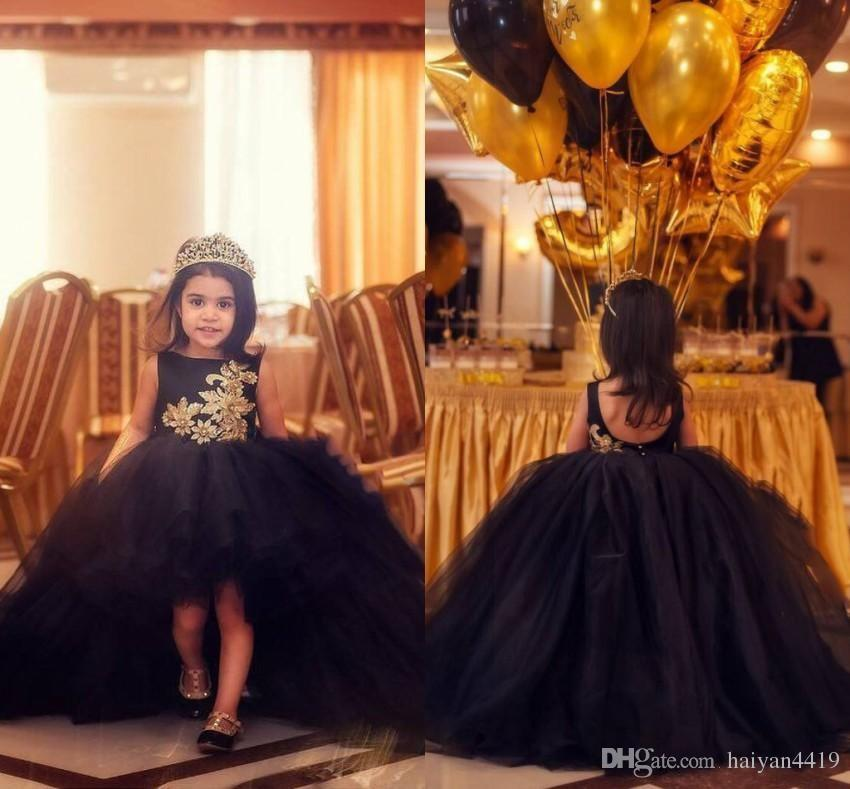 ebde16247b 2018 Black High Low Flower Girls Dresses For Weddings Jewel Neck Backless  Gold Lace Appliques Beads Ball Gown Tiered Pageant Gowns Kids Prom Pretty  Girls ...