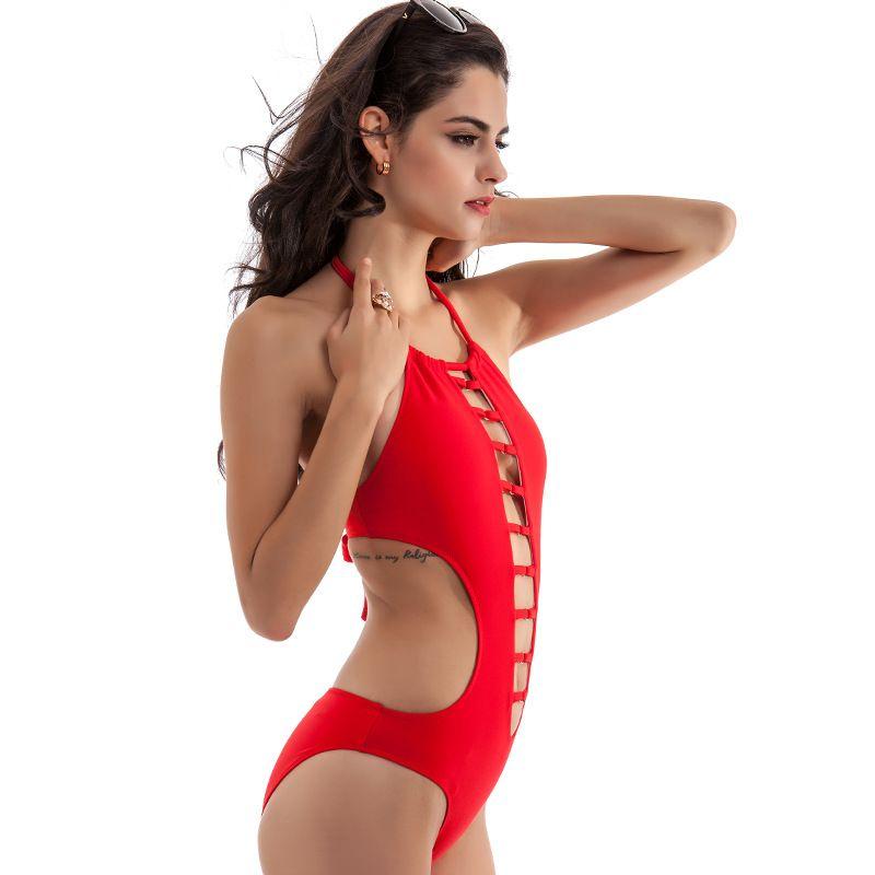 completo di un pezzo Sexy femminile Halter Push Up Perizoma Fasciatura Costume da bagno String Swim Wear Beach Costume da bagno Bikini Swimwear Stile cava