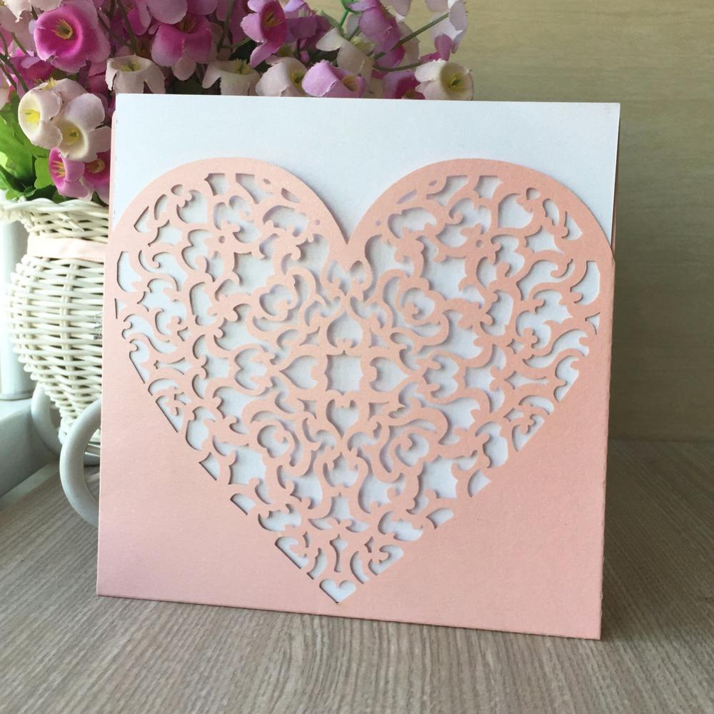 Pearl Paper Wedding Decoration Laser Cut Beautiful 15th Girl Pretty Heart Design Invitation Cards Adult Ceremony Free Online Birthday Card