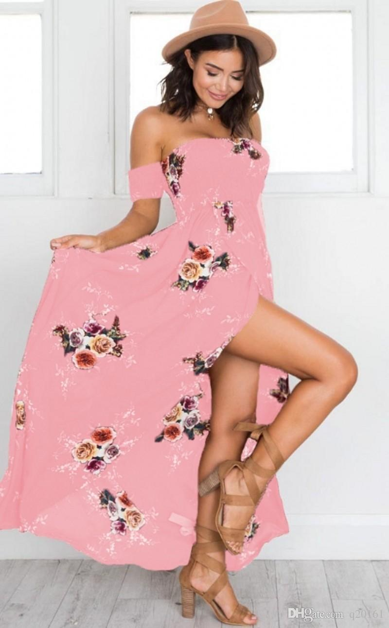 hot sale Women Floral Print Strapless Boho Dress Evening Gown Party Long Maxi Dress Summer Sundress Casual Dresses plus size XS-5XL
