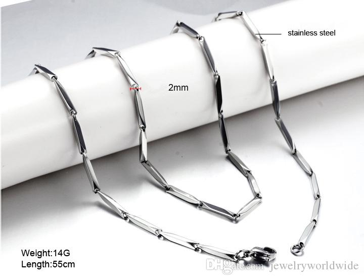 Stainless Steel Triangular Twisted Shape Necklace Chain 2 3 4mm Width 18 20 22 24 Inch Length Fashion Women Men Jewelry