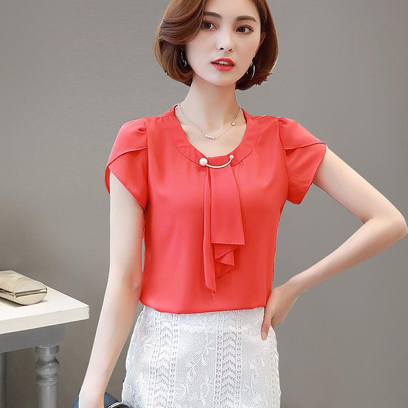d43c899e40296 2019 Summer New Tops 2019 Ladies Sweet Korea Style Solid Elegant Blouse  Shirt Casual Women O Neck Short Sleeve Chiffon Shirts Blusas From Your05,  ...