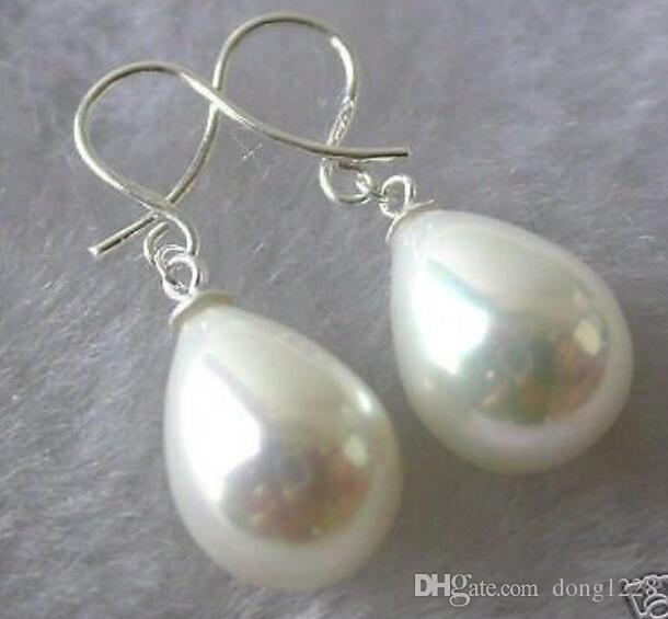 12x16mm Rose Shell Pearl Drop Dangle Boucles d/'oreilles AAA GRADE