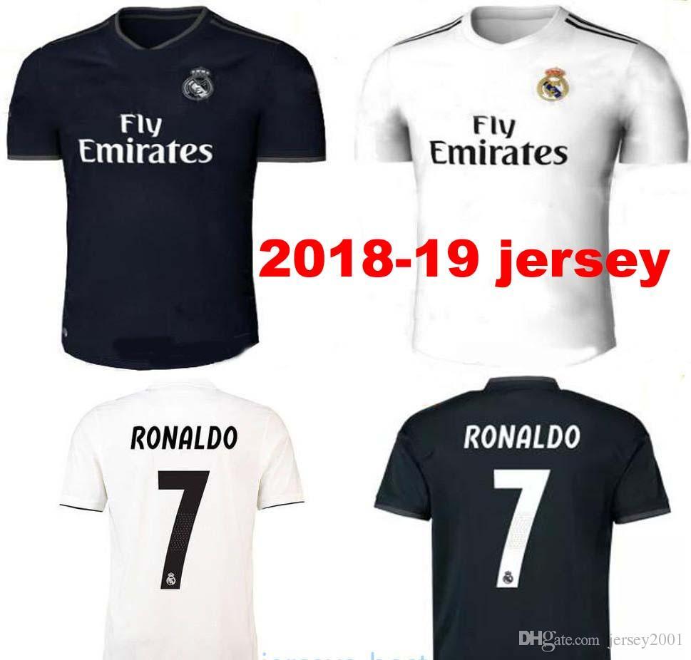 c251b73c49533 Compre Real Madrid Em Casa Camisa De Futebol Branco 18/19 Real Madrid  Camisa De Futebol Em Casa 2019 # 7 Ronaldo # 20 Asensio # 22 Isco # 12  Marcelo ...
