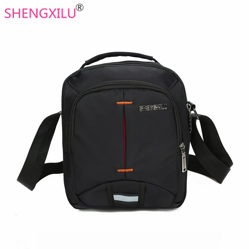 Shengxilu Fashion Black Men Crossbody Bags Male Shoulder Bags Small Handbags  Casual Brand Logo Messenger Men Black Leather Handbags Small Purses From ... 7c69b23302f11