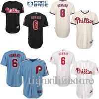 buy popular 2cd89 e6b00 Black cream grey blue Ryan Howard Authentic Jersey , Men s #6 Pa Phillies  Cool Base