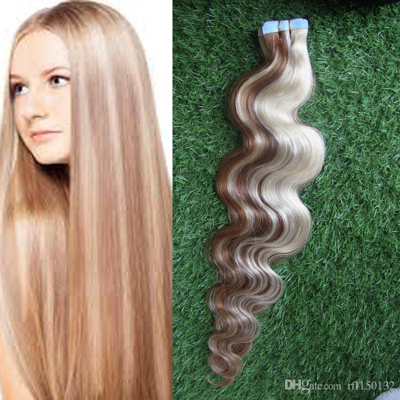 P860 Blonde Seamless Body Wavy Human Tape Hair Virgin Peruvian Tape