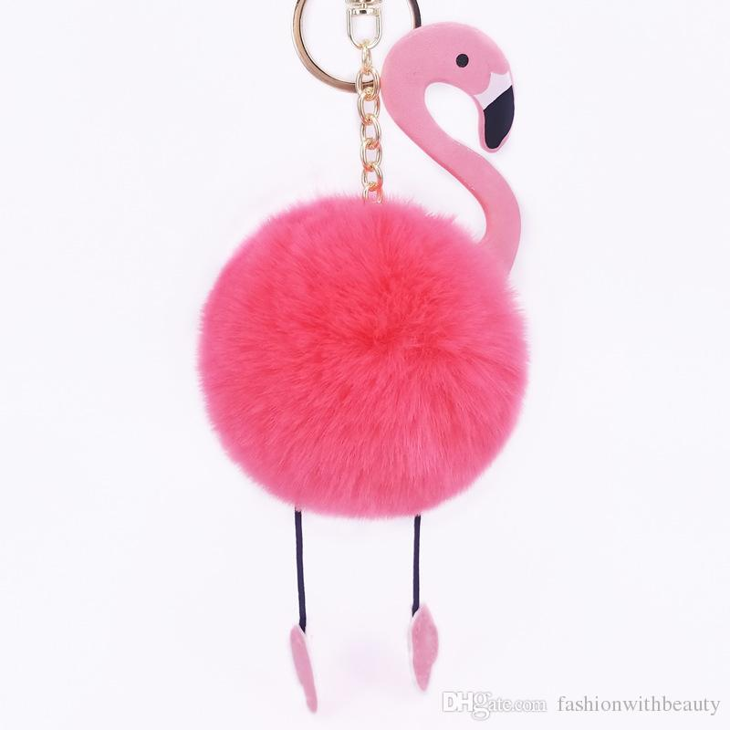 PU Flamingo KeyChain Fluffy Fake Rabbit Fur Ball Women Car Bag Key Ring Accessories Girl Gift