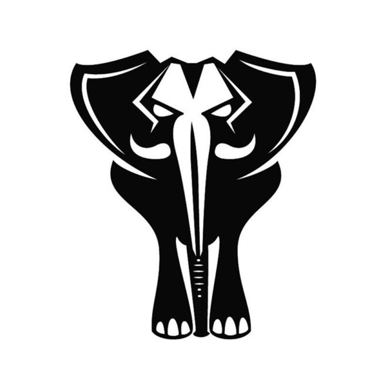 Bold Black Elephant Facing Front Animal Car Decal Vinyl Car