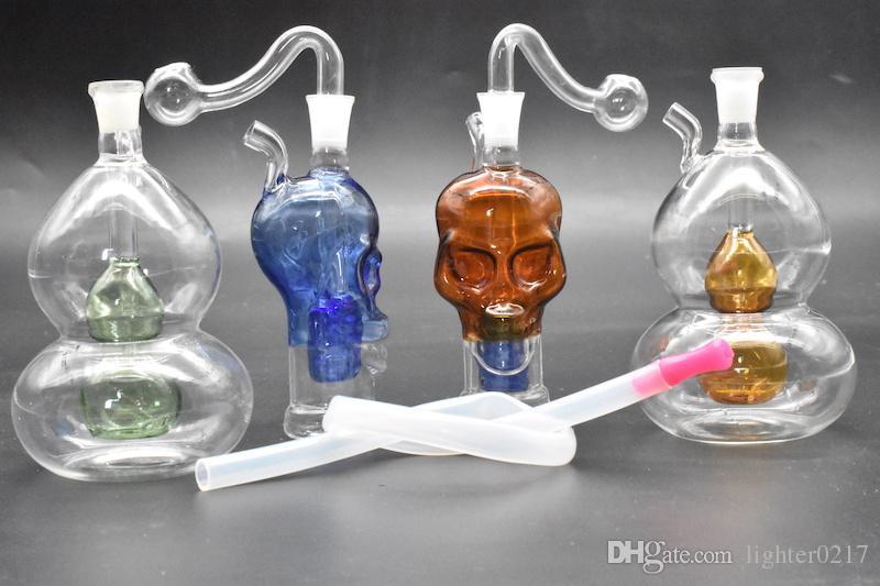 colorido mini Calabaza de cráneo Plataforma de aceite de vidrio Bongs Percolador de tubería de agua Tubos de tabaco humeantes de reciclaje Reciclar las plataformas de aceite bongs con un tazón de 10 mm