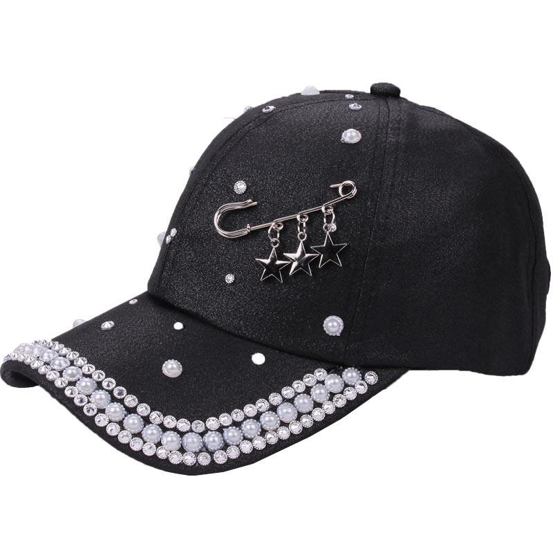7dbbeed89ff 2018 Custom Design Star Rings Pin Pattern Hat Women Novelty Hat New Pearl  Cap White Black Solid Spring Summer Autumn Female Caps Cheap Snapback Hats  Hats .