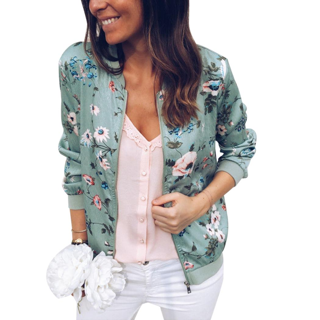 e374f1ae8 Fashion Floral Printed Women Coat Casual Zipper Up Bomber Jacket Plus Size  Ladies Casual Autumn Outwear Coats Jacket M-5XL