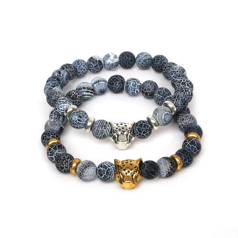 Fashion 8mm Buddha Leo Lion Head Charm Bracelet Men Natural Stone Created Agates Lava Beads Bracelets Pulseras Hombre