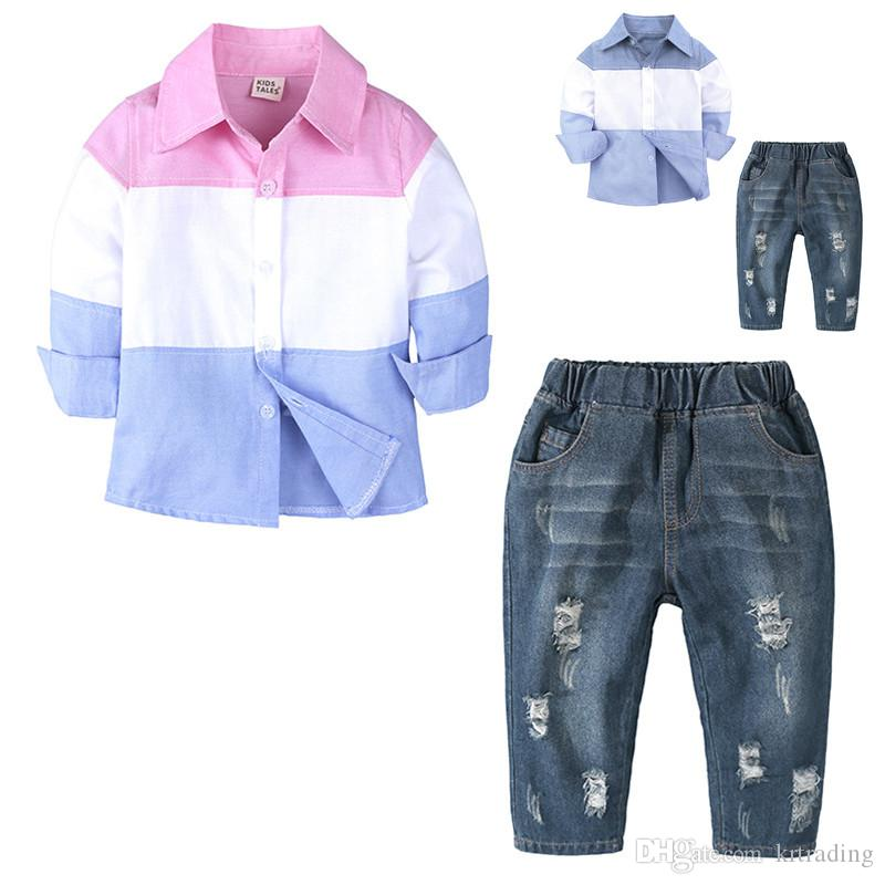 f698811b17d 2019 2018 New Boys Jeans Outfits Set Splicing Color Shirt+Tattered Jeans 1  6T Kids Fashion Casual Distressing Outfits From Krtrading, $11.22 |  DHgate.Com
