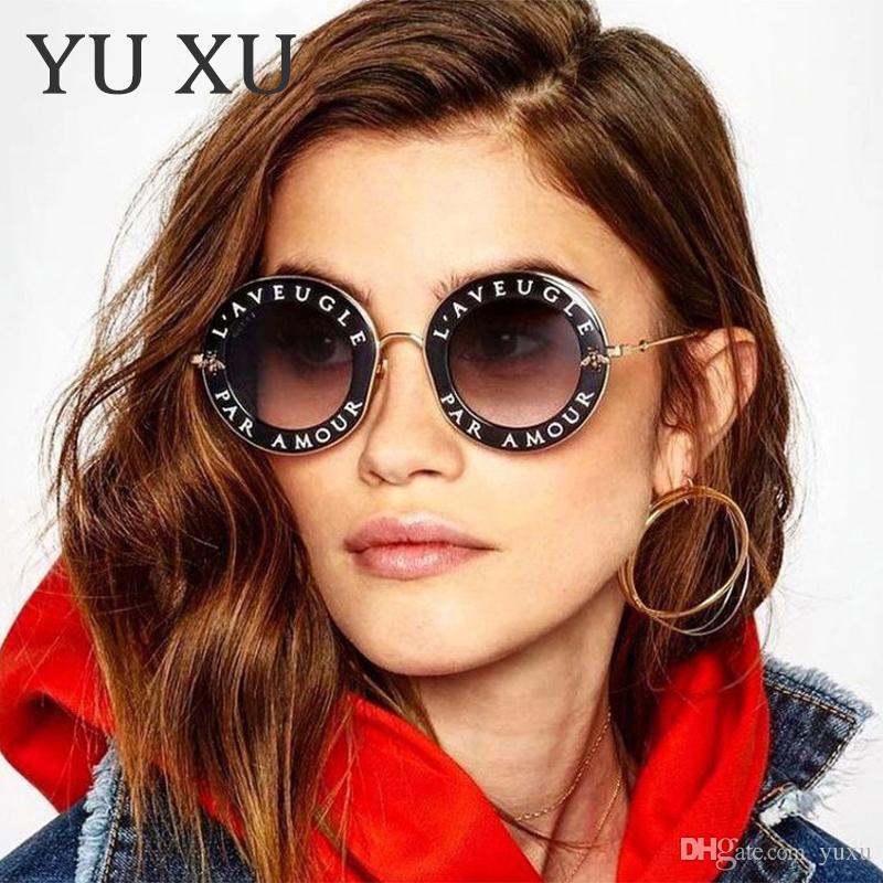 c0e501c565a73 Vintage Small Bee Letter Round Sunglasses Men Women Fashion Brand ...