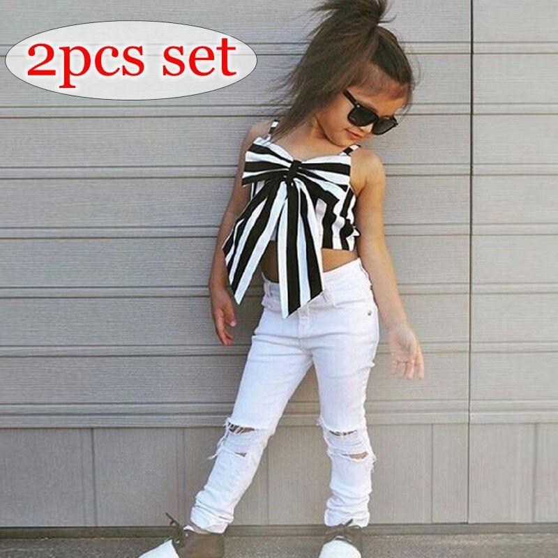004159f1dc4ce Satın Al Ins Yaz Kızlar Siyah Beyaz Çizgili Büyük Yay Tshirt Elbise Bebek  Kolsuz Üstleri Tees Çocuklar Beyaz Delik Pp Pantolon 2 Adet Set 2 7years  Ücretsiz, ...