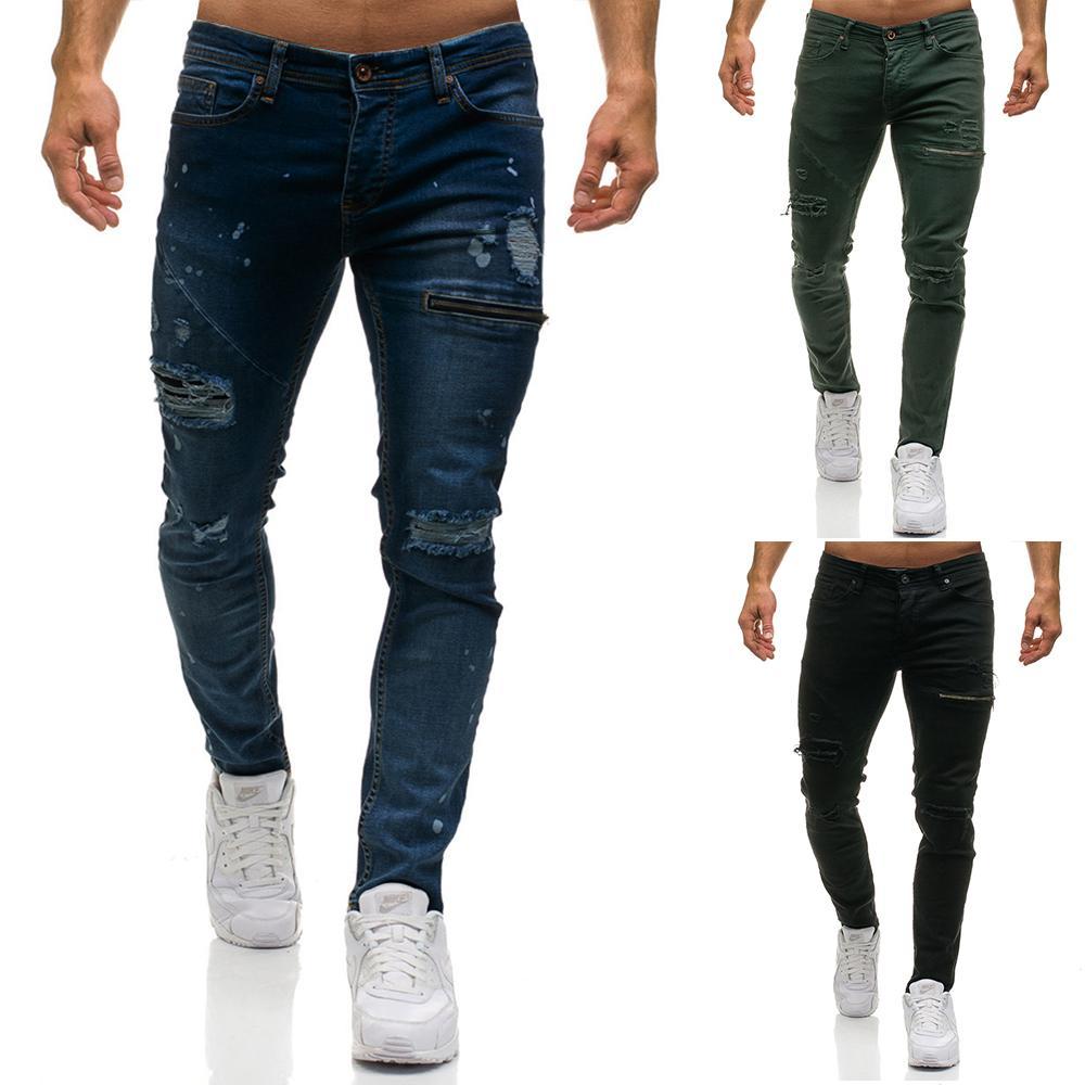 77afed9580c Compre Diseñador Para Hombre Pantalones Vaqueros Rotos Joggers Hombres  Pantalones Vaqueros Delgados Ocasionales Cremallera Rasgada Pantalones  Largos Negro ...