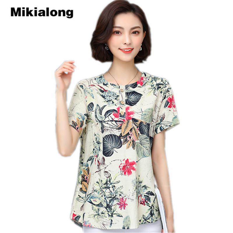 7e996989070 2019 Mikialong 2018 Summer Floral Cotton Linen Blouse Women Vintage Short  Sleeve Kimono Shirts Ladies Tops Plus Size Blusas Mujer 5XL From Tayler