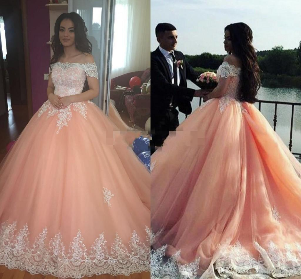 18322aa8f6 2018 New Peach Ball Gown Quinceanera Dresses For 15 Years Girl Off Shoulder  Appliqued Lace Beaded Sweep Train Corset Cheap Formal Prom Gowns
