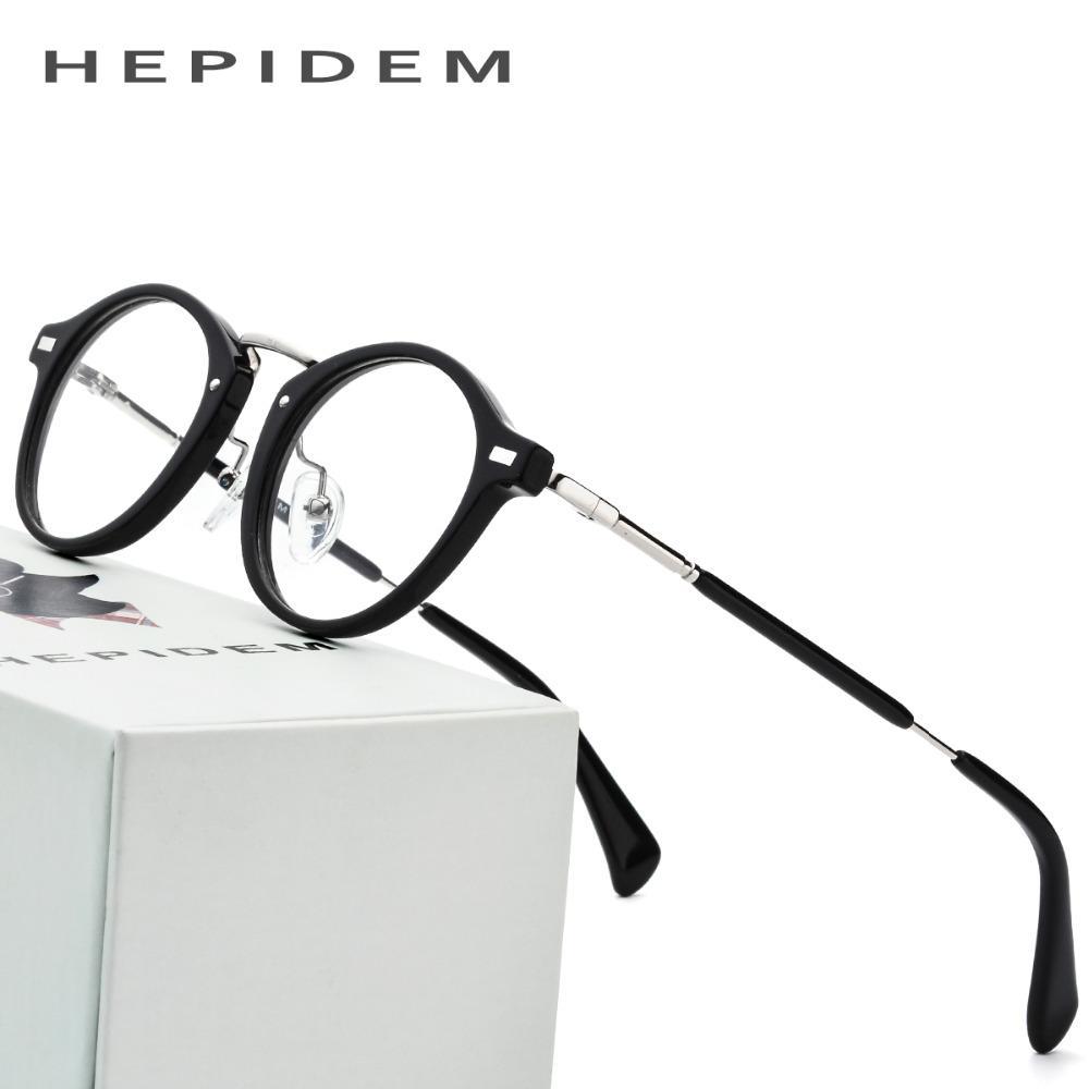 47b4e1ce143 2019 Acetate Optical Glasses Frame Men Metal Small Vintage Round Prescription  Eyeglasses 2018 Fashion Women Myopia Spectacles Eyewear From G6241163