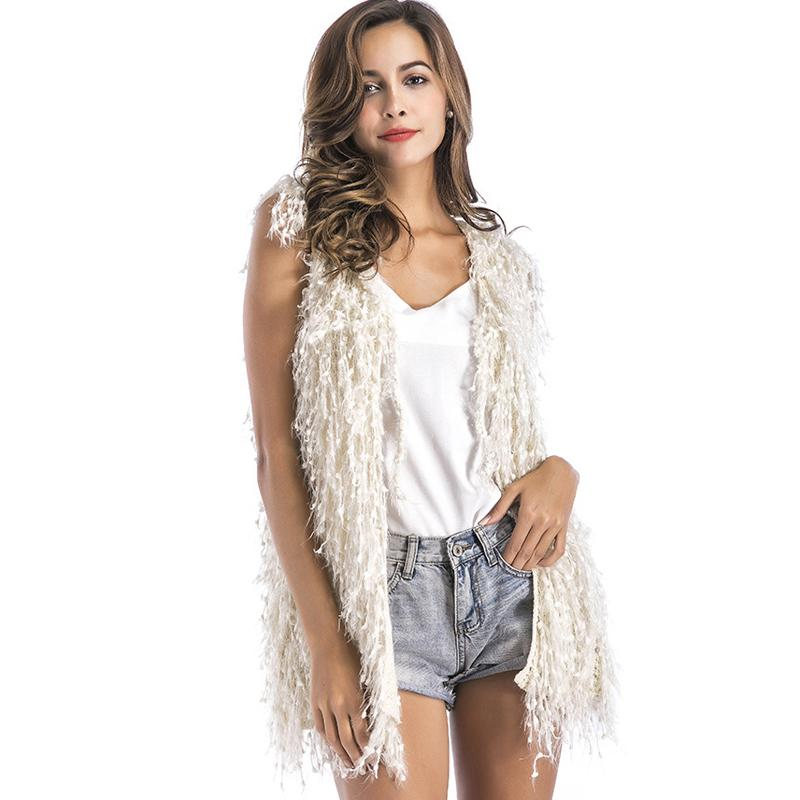058f924c44fc49 2019 2017 Fashion Christmas Party Cardigan Vest Women Solid Cardigans  Knitted Sweater Winter Boho Tassel Clothes Sleeveless Sweaters From Bida  Jany