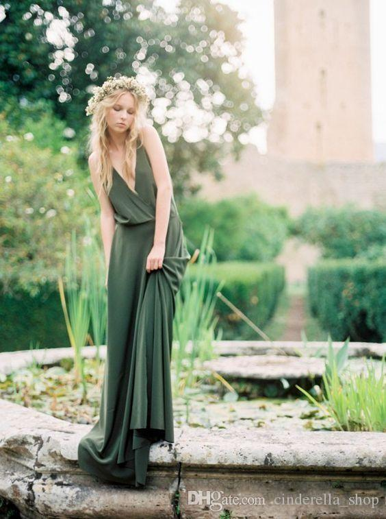 Beach Boho Olive Bridesmaids Dresses 2020 Spaghetti V Neck Backless Sweep Train Chiffon Garden Bohemian Wedding Guest Dresses Cheap