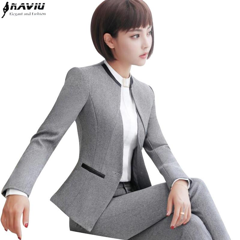 35b5922c3c9 2019 Wholesale Professional Set Women Pant Suits 2017 Autumn Temperament  Fashion Office Lady Long Sleeve Blazer With Pants Plus Size Work Wear From  Seein