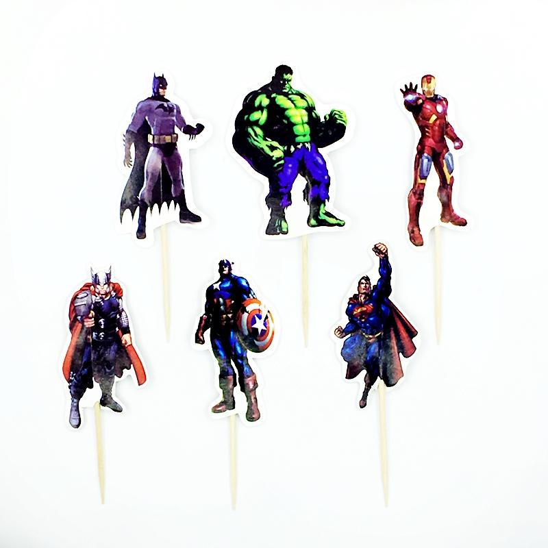 2019 Avengers Hero Superman Captain America Batman Iron Man Cupcake Topper Pick Kids Boy Birthday Cake Decoration Party Supply From Jinggonghome