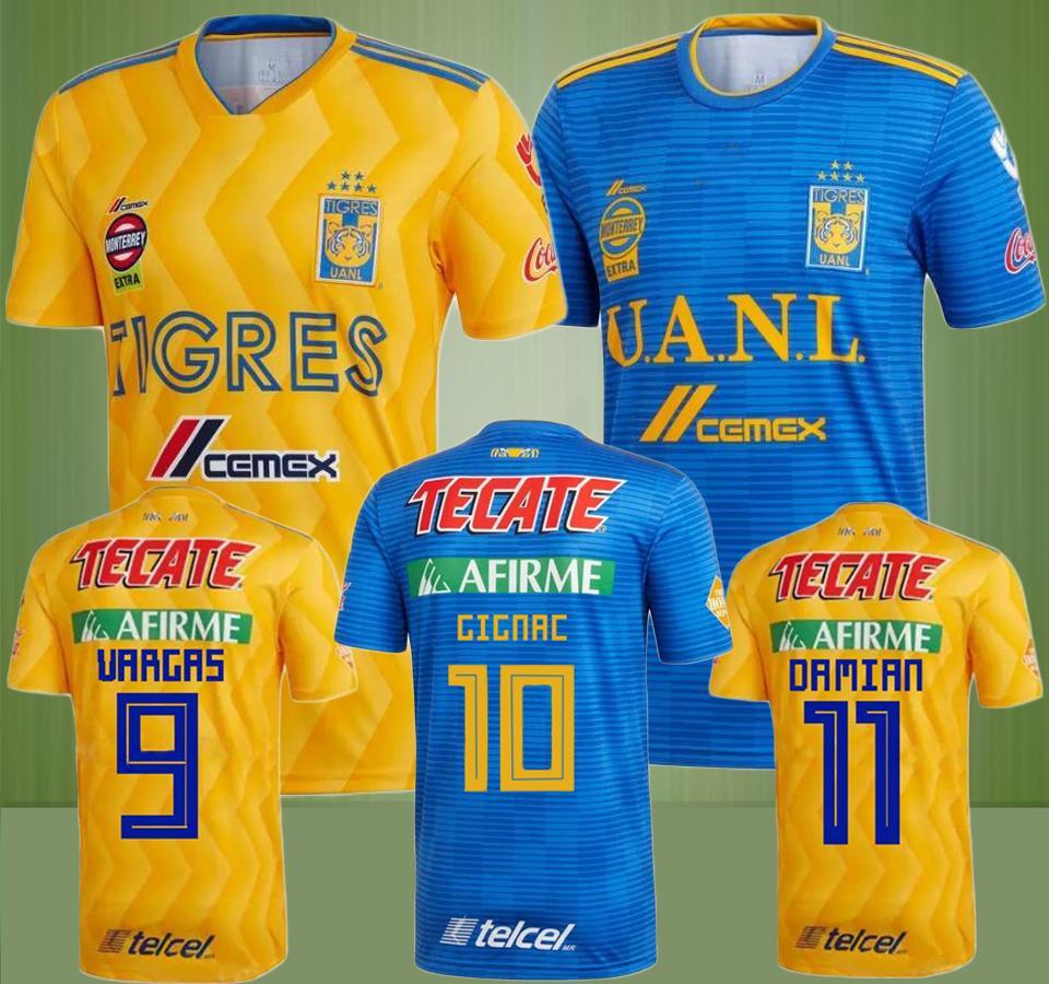 2018 2019 Tigres UANL Camisetas De Fútbol 18 19 Mexico Club Home Yellow 6  Stars GIGNAC Vargas H. Ayala SOSA Camisetas Lejos De Fútbol Azul Por  Aaa elian1 381cd085914dc