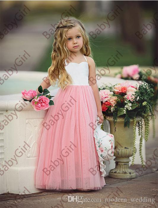 ea58957ba83 Cheap and simple in stock halter soft tulle ruffle flower girl s dresses  with floor length for party