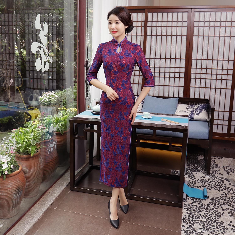 Shanghai Story Keyhole Velvet Qipao Chinese traditional Dress chinese Oriental dress 3/4 Sleeve long Lace Cheongsam For Women